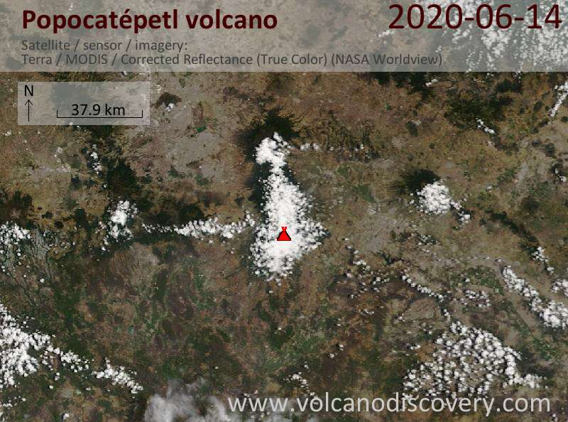 Satellite image of Popocatépetl volcano on 15 Jun 2020