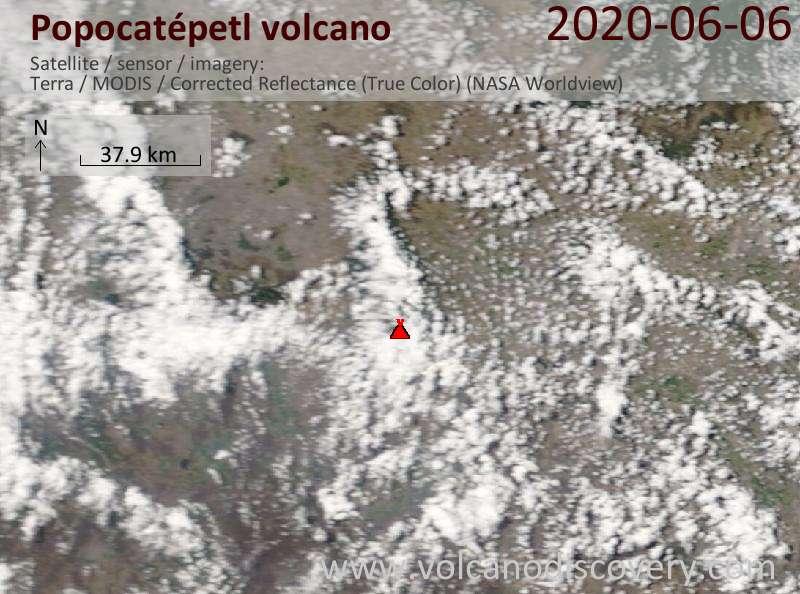 Satellite image of Popocatépetl volcano on  6 Jun 2020