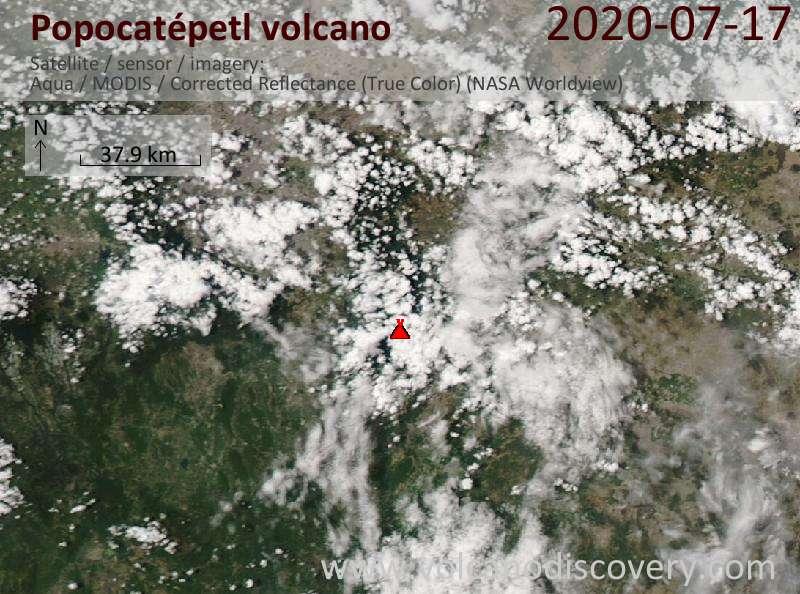 Satellite image of Popocatépetl volcano on 18 Jul 2020