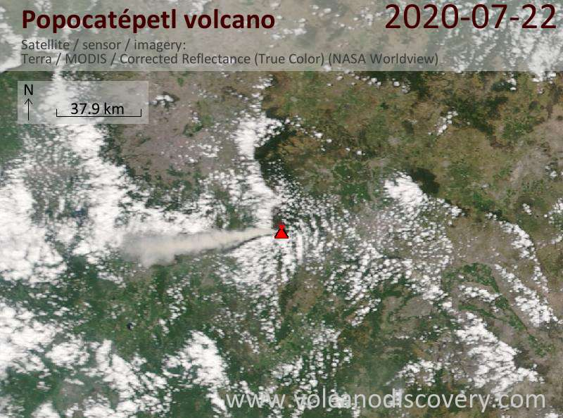 Satellite image of Popocatépetl volcano on 22 Jul 2020
