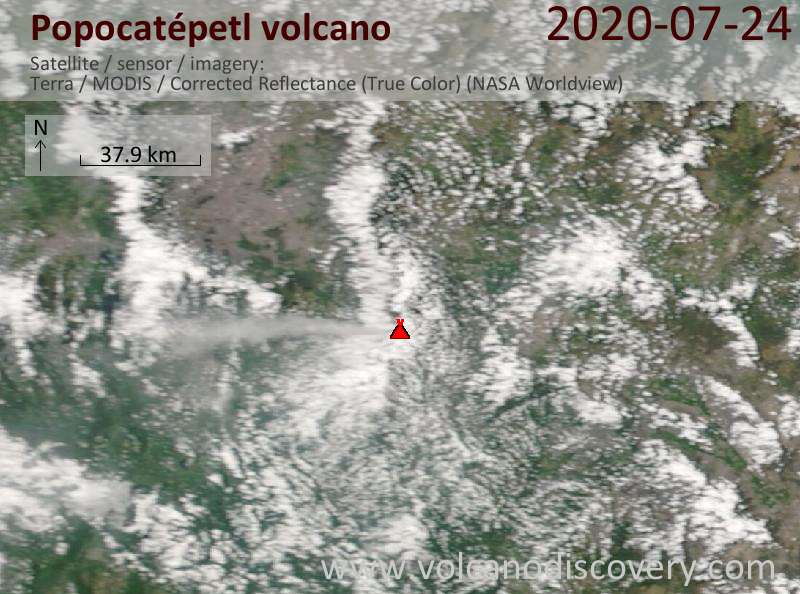 Satellite image of Popocatépetl volcano on 24 Jul 2020