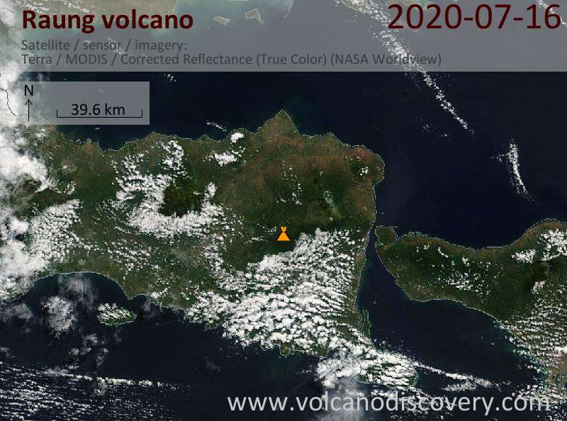 Satellite image of Raung volcano on 16 Jul 2020