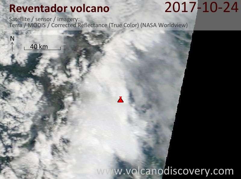 Satellite image of Reventador volcano on 24 Oct 2017