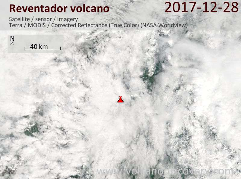 Satellite image of Reventador volcano on 28 Dec 2017