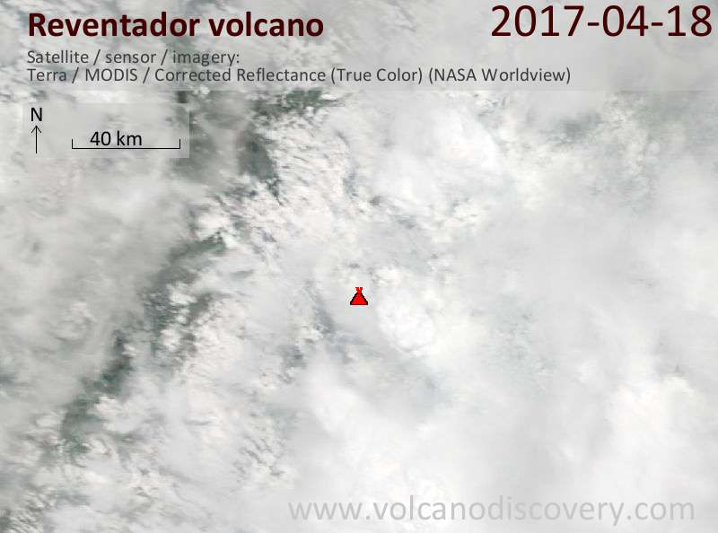 Satellite image of Reventador volcano on 18 Apr 2017