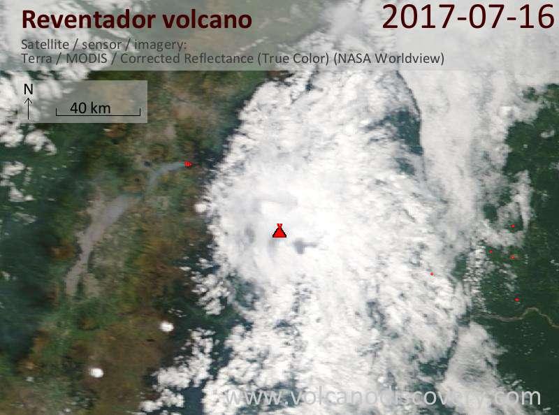 Satellite image of Reventador volcano on 16 Jul 2017