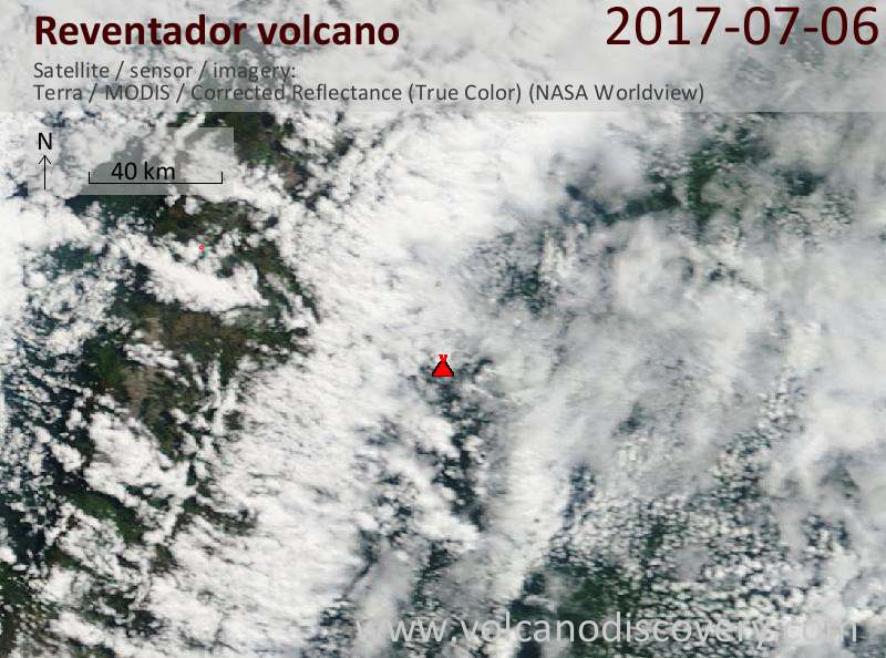 Satellite image of Reventador volcano on  6 Jul 2017