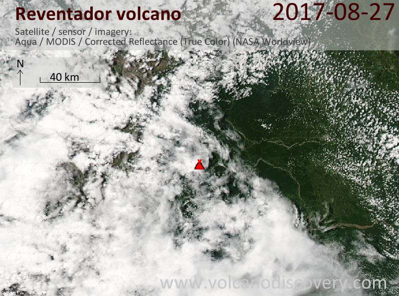Satellite image of Reventador volcano on 27 Aug 2017