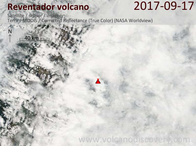 Satellite image of Reventador volcano on 17 Sep 2017
