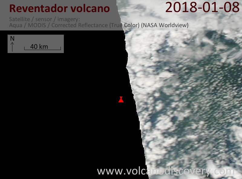 Satellite image of Reventador volcano on  8 Jan 2018