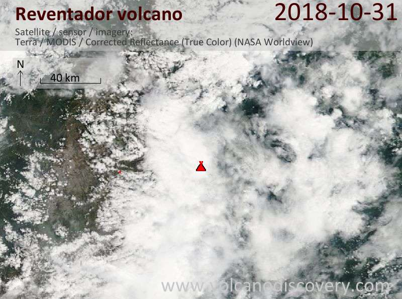 Satellite image of Reventador volcano on 31 Oct 2018