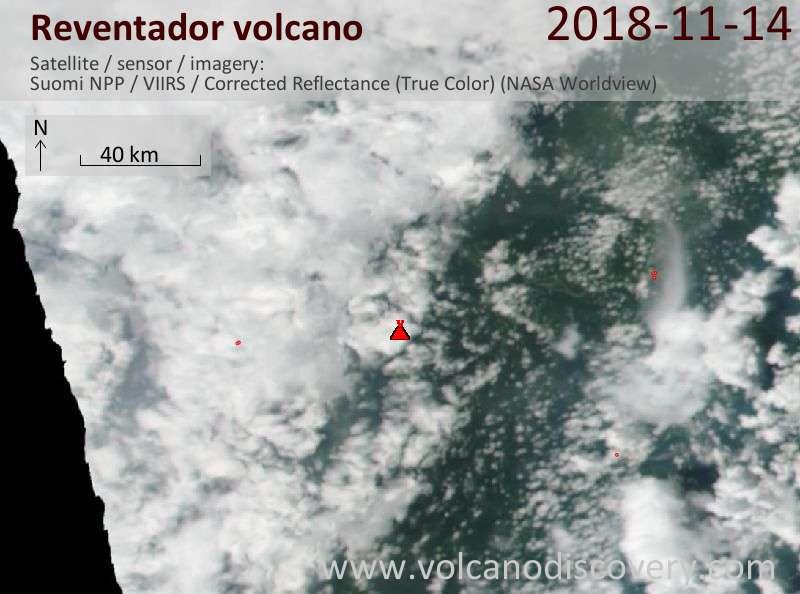 Satellite image of Reventador volcano on 14 Nov 2018