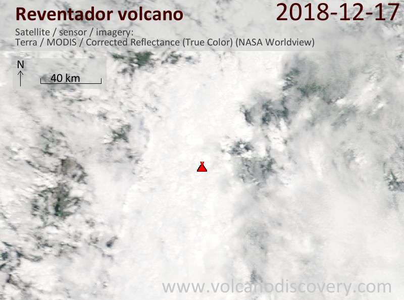 Satellite image of Reventador volcano on 17 Dec 2018