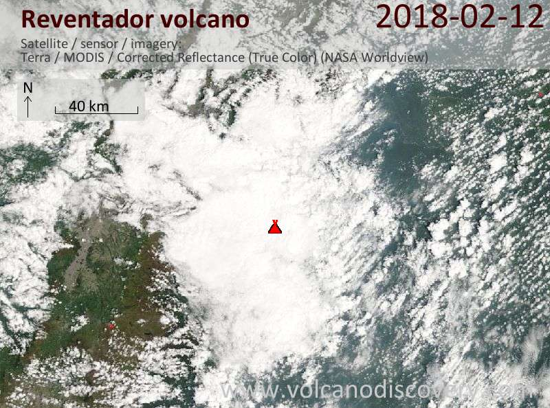 Satellite image of Reventador volcano on 12 Feb 2018