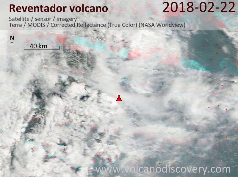 Satellite image of Reventador volcano on 22 Feb 2018