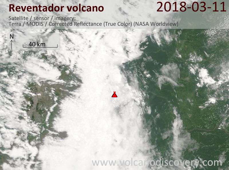 Satellite image of Reventador volcano on 11 Mar 2018