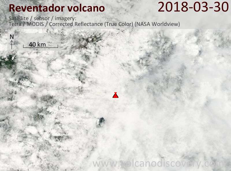 Satellite image of Reventador volcano on 30 Mar 2018