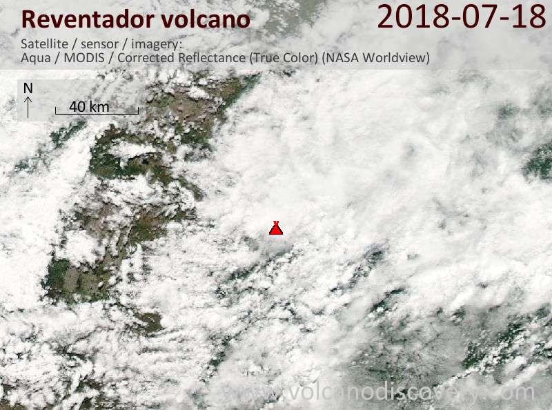 Satellite image of Reventador volcano on 18 Jul 2018