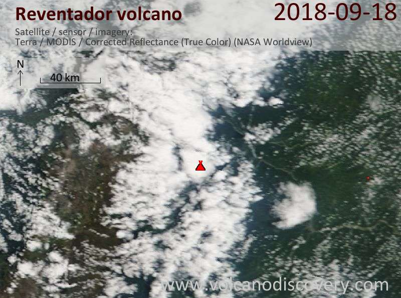 Satellite image of Reventador volcano on 18 Sep 2018
