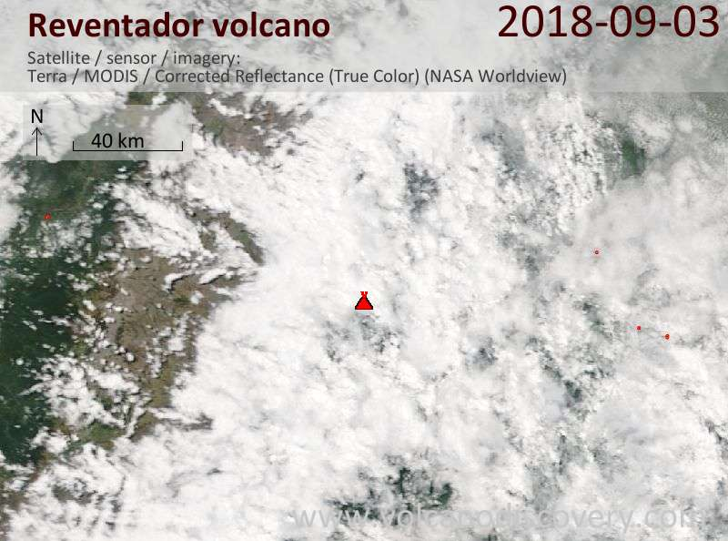Satellite image of Reventador volcano on  3 Sep 2018