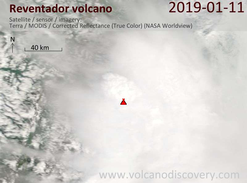 Satellite image of Reventador volcano on 11 Jan 2019