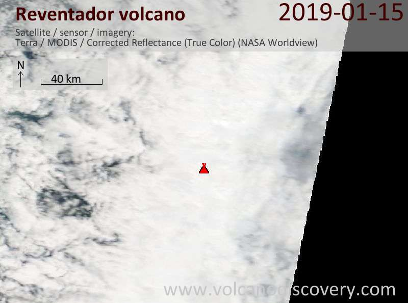 Satellite image of Reventador volcano on 15 Jan 2019