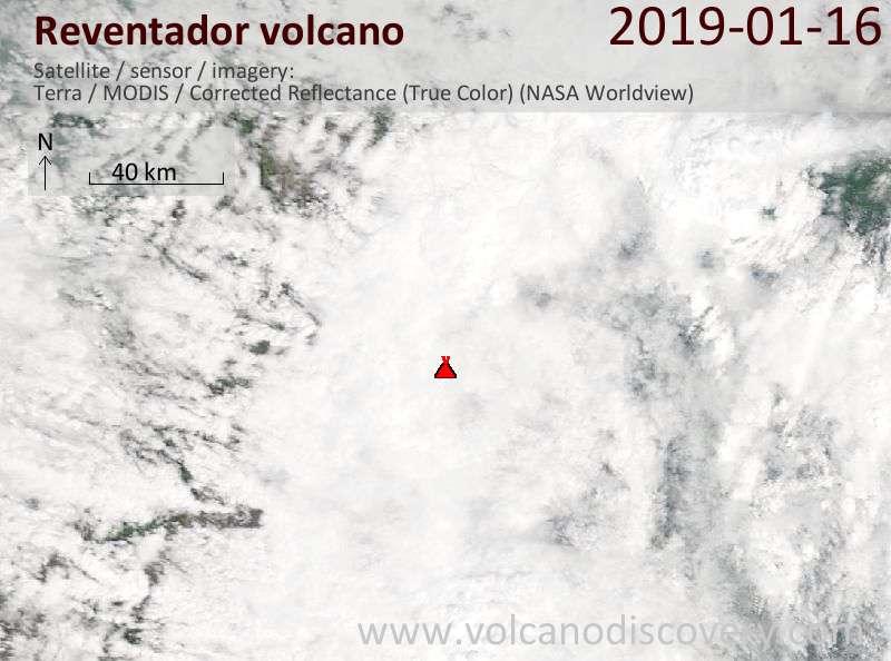 Спутниковое изображение вулкана Reventador 16 Jan 2019