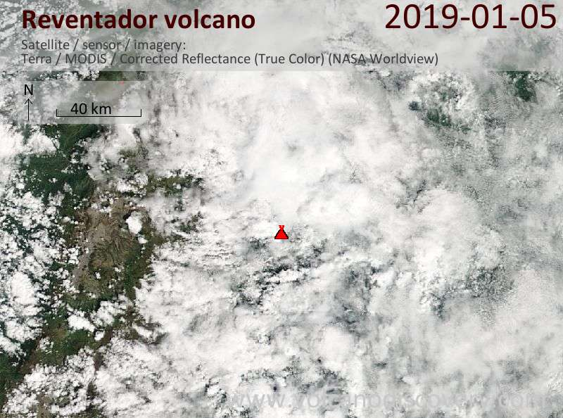 Satellite image of Reventador volcano on  5 Jan 2019