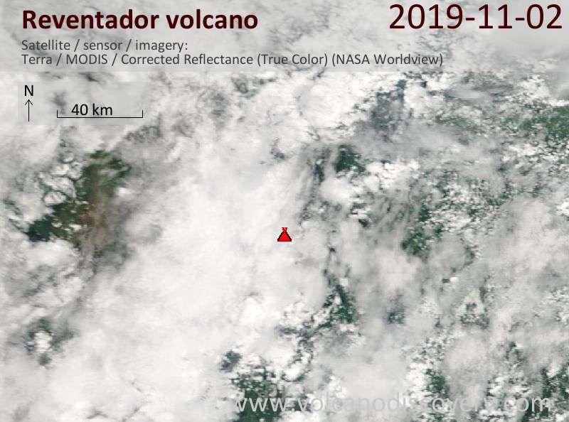 Satellite image of Reventador volcano on  2 Nov 2019