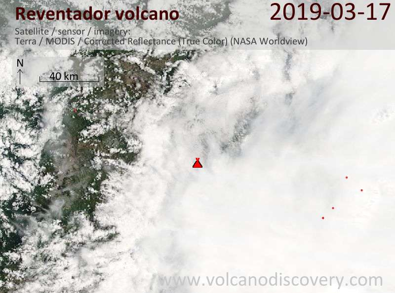 Satellite image of Reventador volcano on 17 Mar 2019