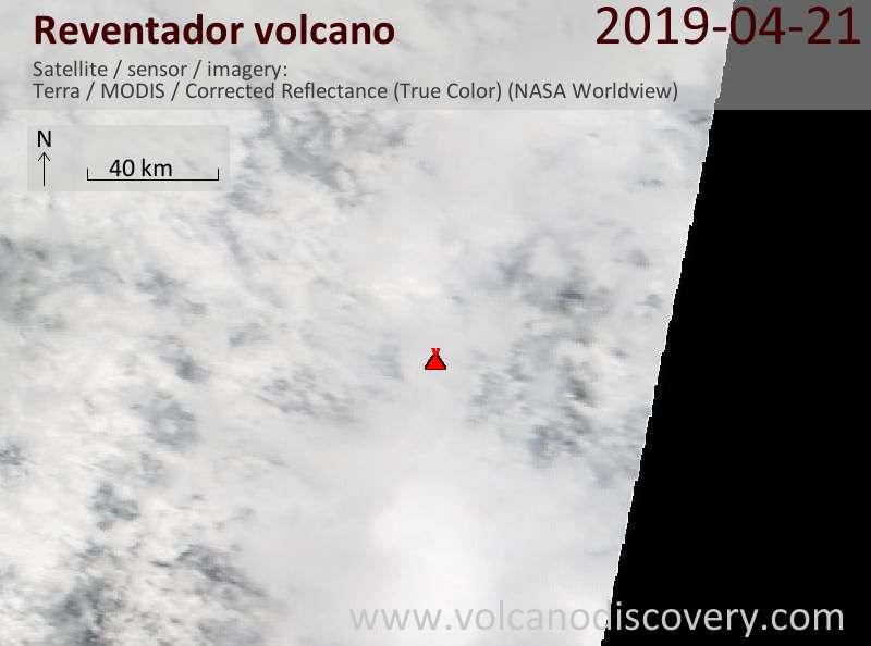 Satellite image of Reventador volcano on 21 Apr 2019