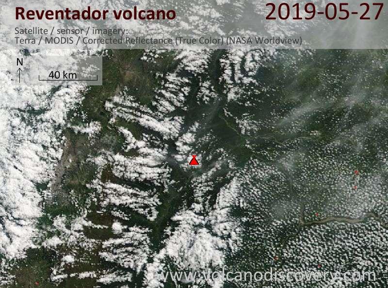 Satellite image of Reventador volcano on 27 May 2019