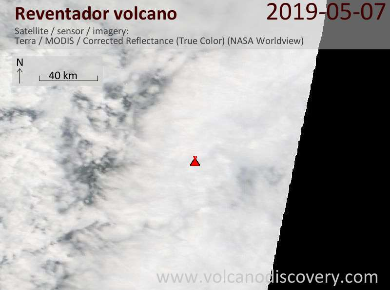Satellite image of Reventador volcano on  7 May 2019