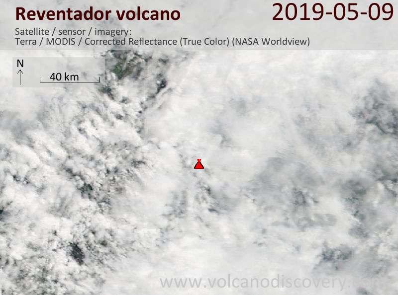 Satellite image of Reventador volcano on  9 May 2019