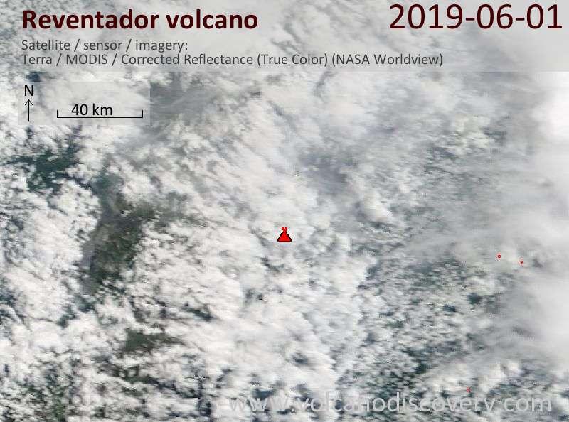 Satellite image of Reventador volcano on  1 Jun 2019