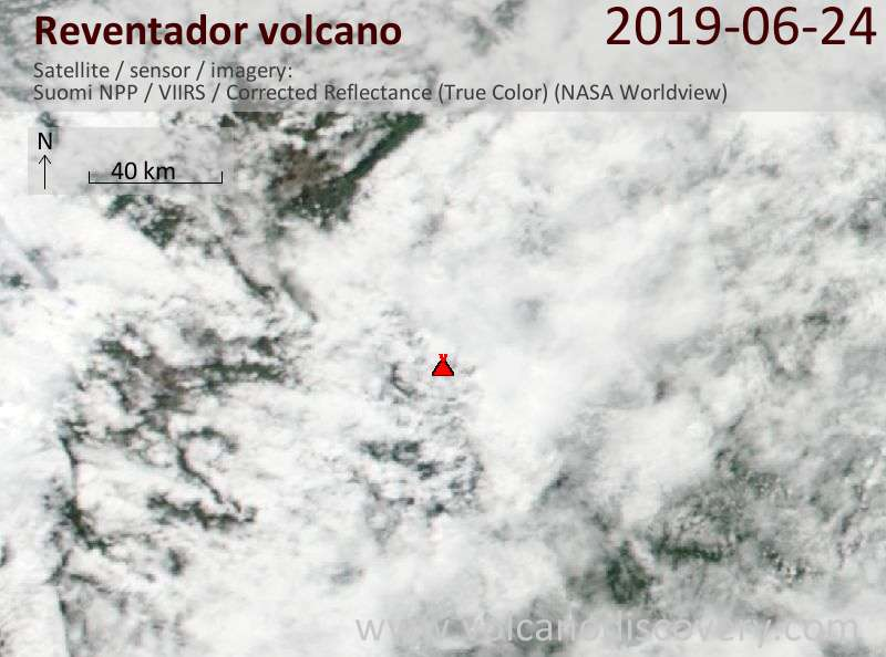 Satellite image of Reventador volcano on 24 Jun 2019