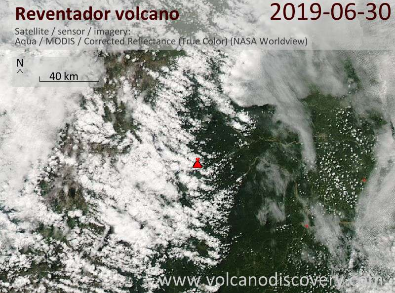 Satellite image of Reventador volcano on 30 Jun 2019
