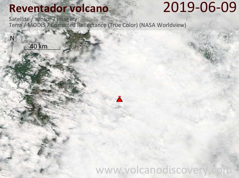 Satellite image of Reventador volcano on  9 Jun 2019