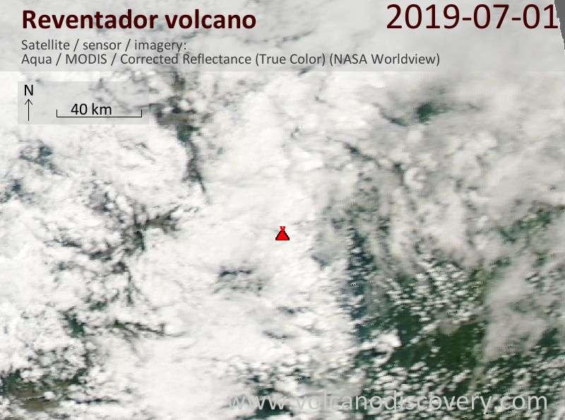 Satellite image of Reventador volcano on  1 Jul 2019