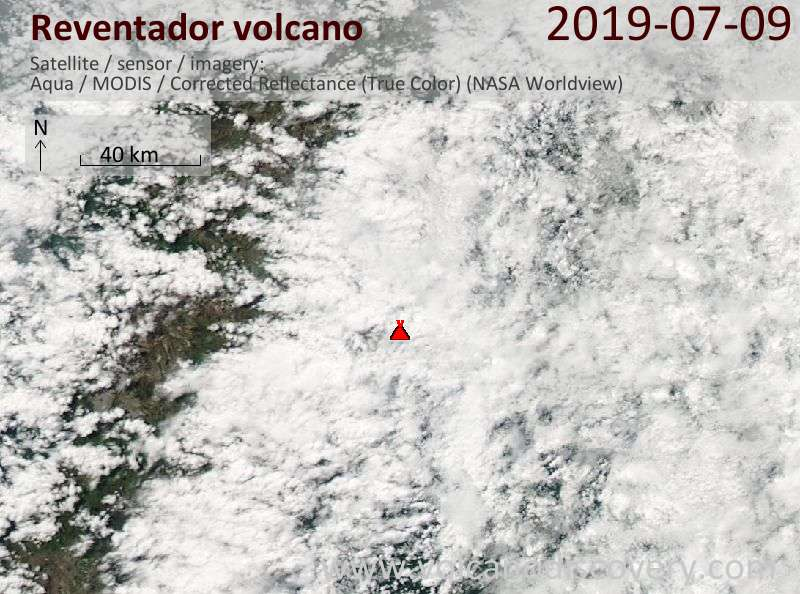 Satellite image of Reventador volcano on  9 Jul 2019
