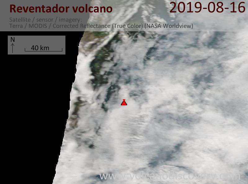 Satellite image of Reventador volcano on 16 Aug 2019
