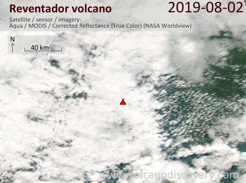 Satellite image of Reventador volcano on  3 Aug 2019