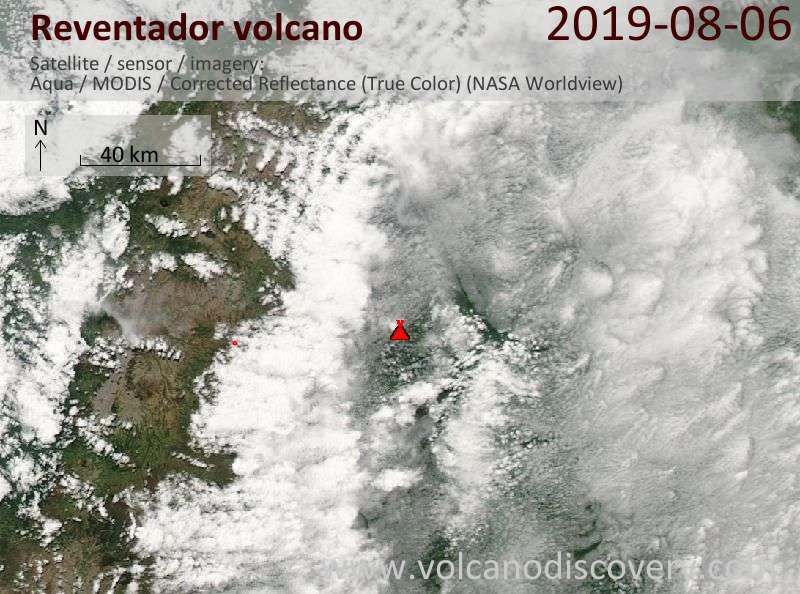 Satellite image of Reventador volcano on  7 Aug 2019
