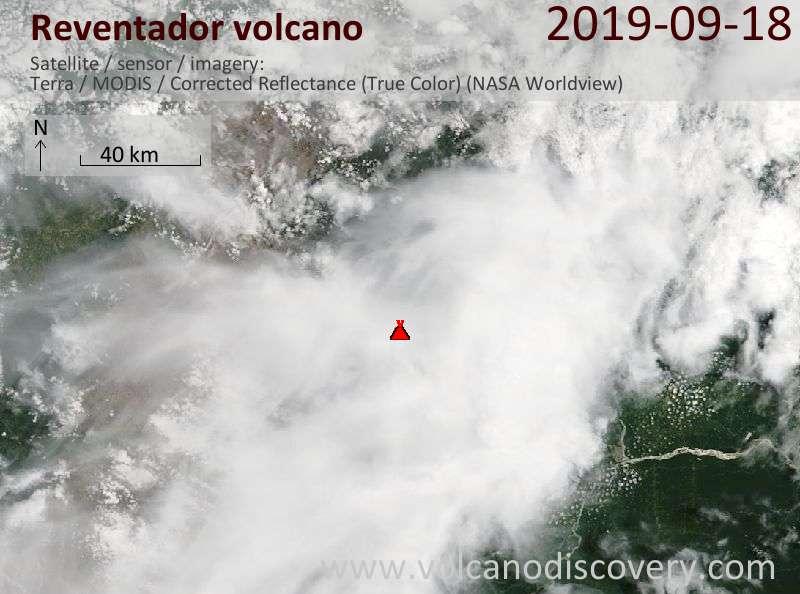 Satellite image of Reventador volcano on 18 Sep 2019