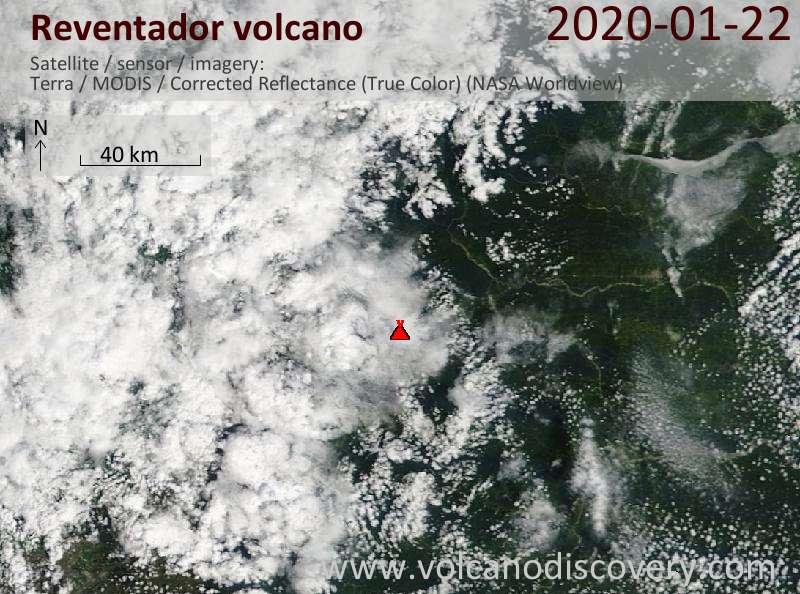 Satellite image of Reventador volcano on 22 Jan 2020