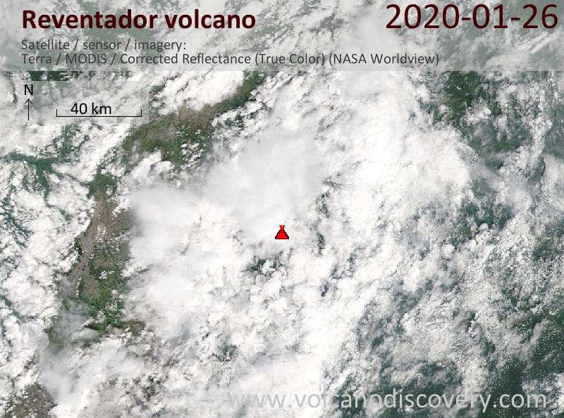 Satellitenbild des Reventador Vulkans am 26 Jan 2020