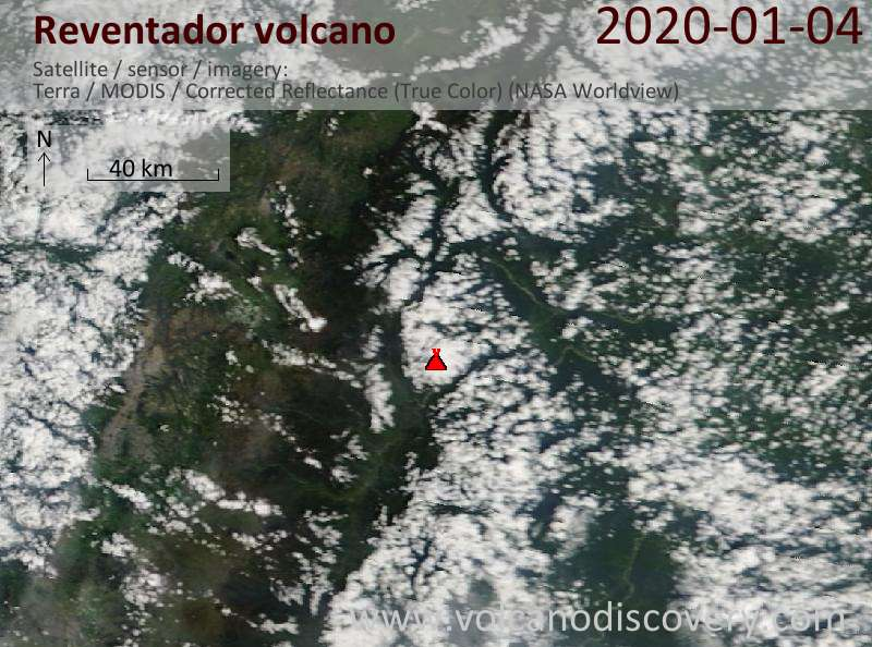 Satellitenbild des Reventador Vulkans am  4 Jan 2020