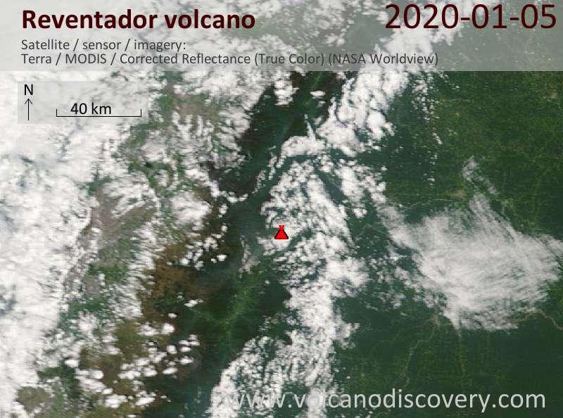 Satellitenbild des Reventador Vulkans am  5 Jan 2020