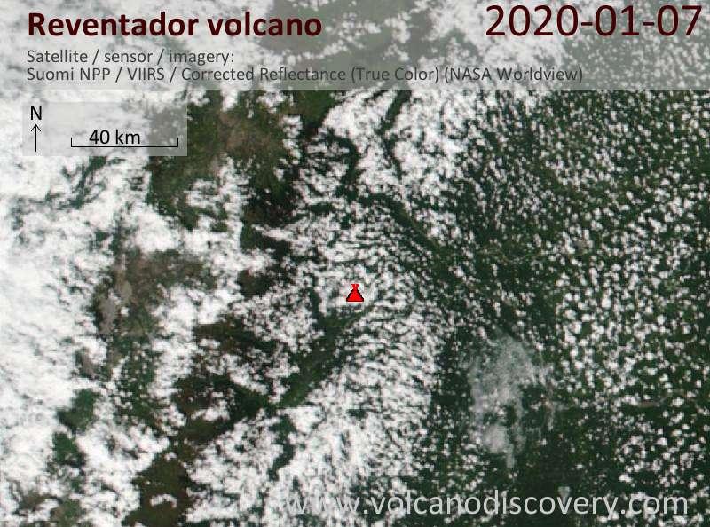Satellitenbild des Reventador Vulkans am  7 Jan 2020