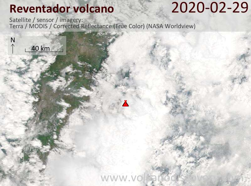 Satellite image of Reventador volcano on 29 Feb 2020